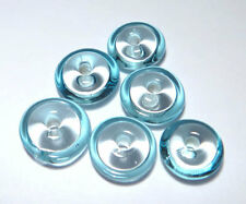 Aqua Turquoise Clear Saucer Rondelles - Handmade Glass Lampwork BEADS - Small  6