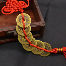Wealth Success 6 Copper Coin China Knot Red Rope Feng Shui Lucky Car Decor 1 Set