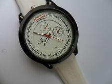 Very Smart Black and White Faced Quartz Watch White Strap