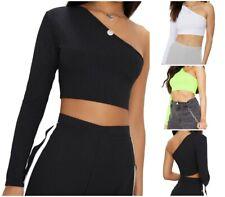 Women Crop Top One Shoulder Long Sleeve Ribbed Club wear Summer Vest Tank Top UK