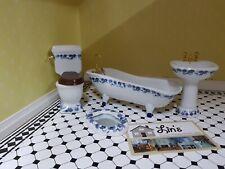 Dolls House  Deluxe Blue Floral Bathroom Set DF1430 4 piece