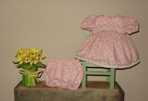 """Handmade Doll Clothes for 14"""" - 16"""" Baby Dolls - """"Spring Time"""" Pink Dress Set"""