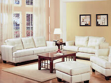 NEW AVON Modern Tufted White Bonded Leather Sofa Couch Loveseat Set Living Room
