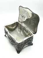 Antique ornate Art Nouveau silver plated on pewter silk lined jewellery box