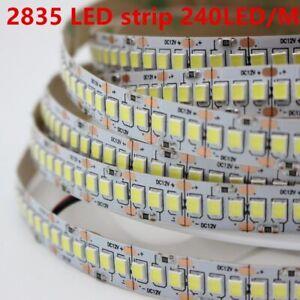 1m- 5mt 10mm PCB 2835 SMD 240LED/m Strip light tape DC12V ip20 Flexible White