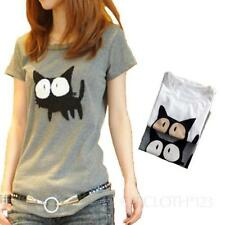Cotton Blend Blouses Cat Tops & Shirts for Women