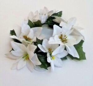 "White Poinsettia Candle 6.5"" Ring Pillar Taper Christmas Home Flower Decor US"