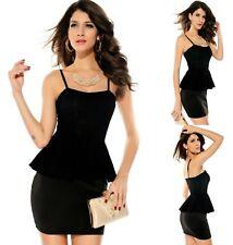 Sexy Black w Lace Peplum Formal Dance Party Cocktail Dress Ladies New Sz S 8 10