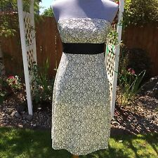 WHBM Sz 2 Cocktail Lace Dress Strapless Cream Black Floral Lined Empire A Line