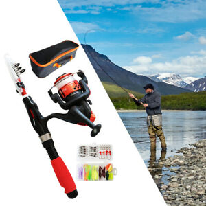 Folding Fishing Pole   Reel Line with Tackle Box Carry Bag for Kids