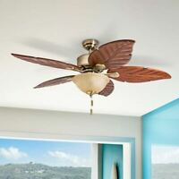 Honeywell Sabal Palm Tropical LED Ceiling Fan with Bowl Brass