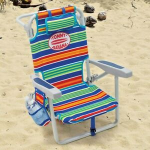 Tommy Bahama Kids Beach Chair Lounger Stripe Backpack Adjusts To 5 Positions New