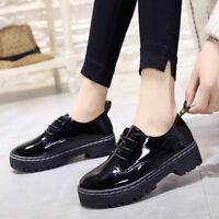 Womens Brouge Platform Wedge Sneakers Lace Up Creepers Oxfords Chunky Heel Shoes