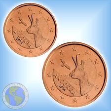 1 Cent + 2 Cent  ANDORRA 2014 Kursmünzen bfr.  ### auf Lager ###