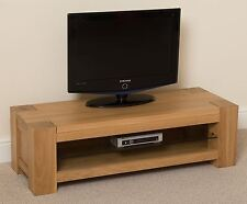 Kuba Solid Oak Wood Glass Small Widescreen TV Cabinet Unit Living Room Furniture