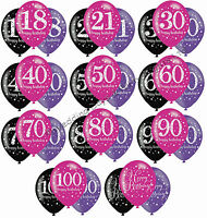 """6 Black Pink Purple 11"""" Balloons Helium or Air Happy Birthday Party Decorations"""