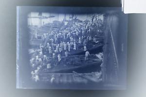 altes Foto Negativ Schiff anlandung im Hafen  um 1900 Zelluloidfilm K2