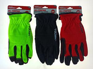3x Hyper Tough Touchscreen Performance Gloves Padded BLACK RED YELLOW NEW MEDIUM
