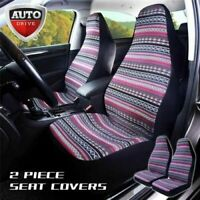 Auto Drive 2 pc High Back Seat Covers Modern Aztec Pink Universal Fit