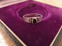 Klasse 925 Silber Ring Sterling Email Emaille Schwarz Tolles Design Onyx Optik