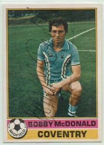 Bobby McDonald signed 1977 / 1978 Topps Red Backs card #38 Coventry City