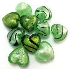 Green Heart Murano Lampwork Glass Foil Pendant Mixed Designs Q10 Destash Sale