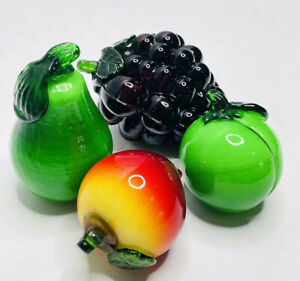 Glass Fruit Vintage Murano Style Kitchen Art Pieces Grapes Pear Peach Apple