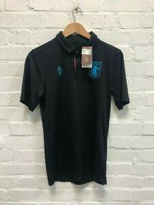 Luke Sport Aston Villa FC Men's Poly Team Polo Shirt - Black - New