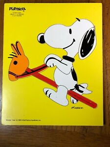Vintage 1958 Playskool Snoopy Giddy-Yap! Tray Puzzle 10 Pieces Perfect For Frame