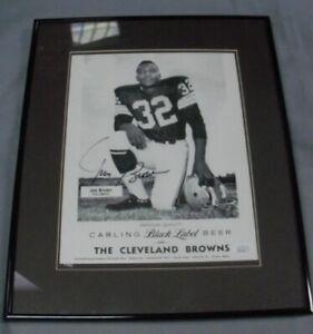 Jim Brown, Cleveland Browns, Signed/Framed Carlings Black Label Beer Print JSA