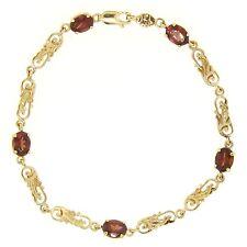 "14k Yellow Gold 7.75"" 5.00ct Oval Garnet 5 Stone Unique Open Link Chain Bracelet"