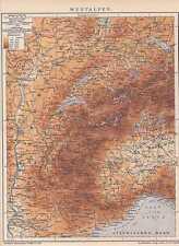 WESTALPEN Berner Alpen Wallis Gotthard LANDKARTE um 1905 Jura Dauphine Meer
