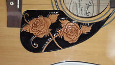 Leather pick guard Acoustic Guitar Custom Hand Tooled Leather  roses