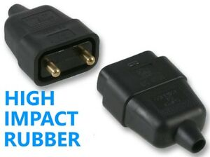 2 Pin Rubber Black Mains Electrical 250V 10 Amp Inline In-Line Connector Extend