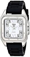 Trax Women's Casual Analog Quartz Posh Square Black Rubber White Dial Watch