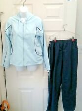 Athletech Blue Navy 2 piece Jog Athletic Wind Track Suit Jacket Pant Lined SMALL