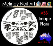 A53 Stamping Nail Art Image Plate Design Round XL Stencil metal