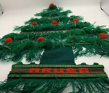 Aruba Christmas Tree Wall Hanging Handmade Embroidery Macrame Woven Vintage.