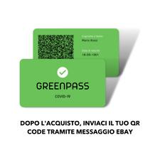 Stampa il tuo GREEN PASS personalizzato su Card in PVC tessera GreenPass QR Code