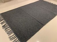 Eco Friendly Plain Dark Grey Recycled Cotton Rich Kilim Washable Reversible Rug
