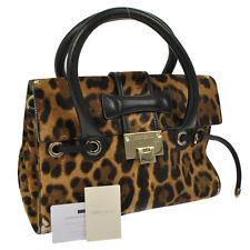 Authentic JIMMY CHOO Leopard Pattern Hand Bag Brown Spawn Fur Vintage RK11665b