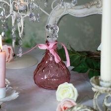 Dark pink glass decorative diamond cut bottle shabby vintage chic girly gift