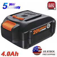 WA3520 For WORX WA3575 20V Max Lithium Battery 4.0Ah WA3578 WA3525 WA3512 WG160