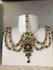 Gold maroon headpiece matha patti tika hijab boho bridal grecian hair chain prom
