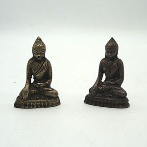 2 x Tibet Statue Buddha Kleinbronze Bronze ca.5 x 3 cm