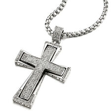 Men COOLSTEELANDBEYOND Mens Large Steel Crucifix Cross Pendant Necklace Silver Gold Two-Tone with 30 inches Steel Wheat Chain