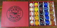 "25 AKRO AGATE SHOOTERS STRAIGHT AS A KRO FLIES 1"" GLASS MARBLES IN ORIGINAL BOX"