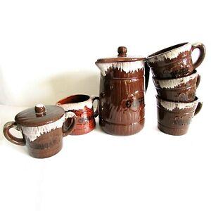VTG 70s Coffee Serving Set w Pot 3 Mugs Creamer Sugar Brown Drip Glaze  FREE SH