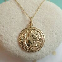 Sterling Silver Gold Vermeil Roman Coin Medallion Style Pendant