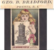 Bradford Phenix RI 1800's Richmond Parlor Stove Norwich CT Victorian Trade Card